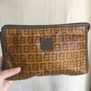 4b8a36006d4 Fendi FF Clutch Purse Makeup Travel Case Bag Vtg
